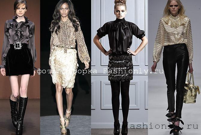 Модные блузки 2010 - блузки с жабо