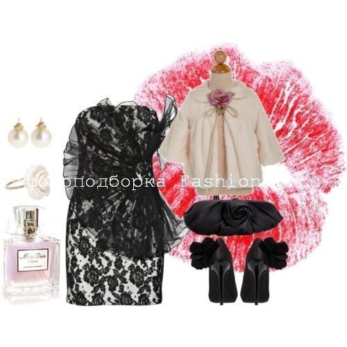С чем носить кружевное платье черного цвета от Marchesa.