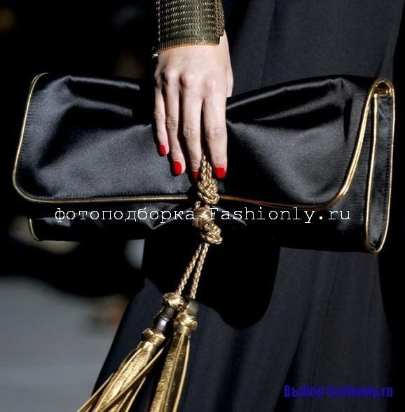 Черный атласный клатч с окантовкой gucci