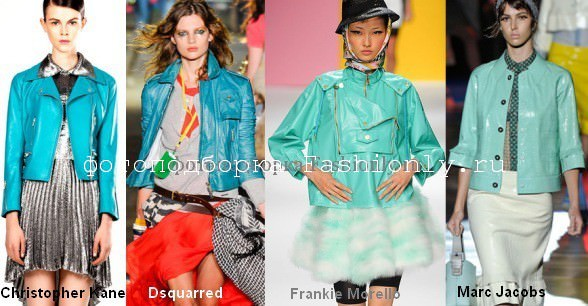 Куртки из кожи бирюзового оттенка - сезон весна 2012