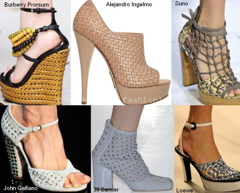 Модная плетеная кожа на обуви сезона весна лето 2012 года