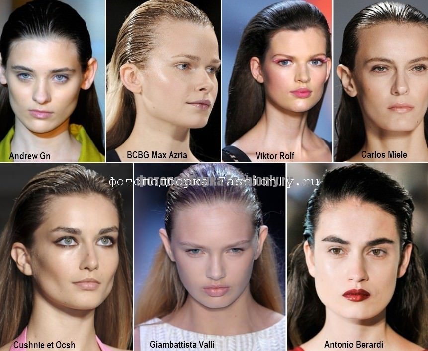 Зачесаные назад и залакированные волосы - модно весной в 2012 году