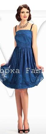 Вечернее новогоднее платье синего цвета