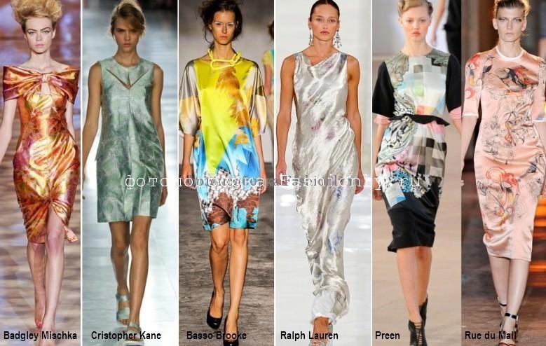 Фото весенних шелковых платьев с принтами - 2012 год