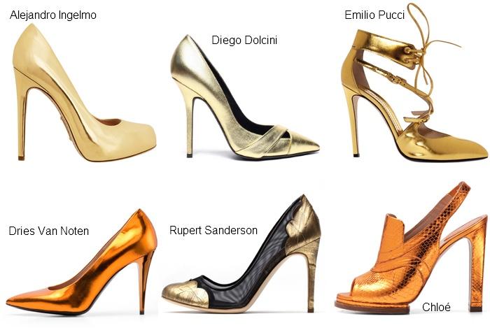 Туфли золотистого цвета - сезон весна лето 2012 года