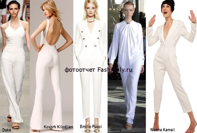 Модные комбинезоны белого цвета