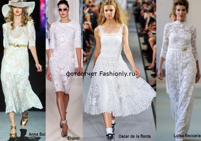 Белые кружевные платья - весна 2012 года