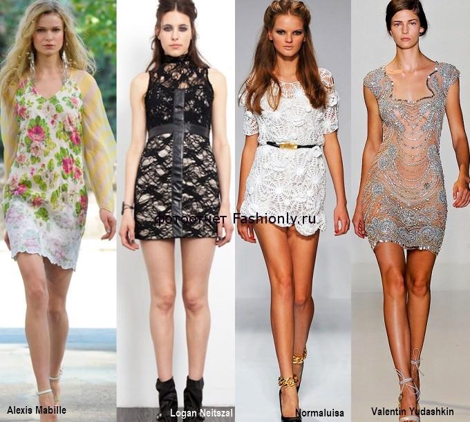 Фото коротких платьев из кружева - весна 2012