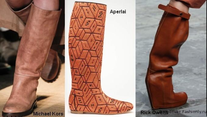 Модные сапоги без каблука - фото 2012 года