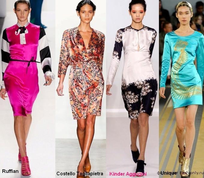 Фото атласных платьев с принтами - весна 2012