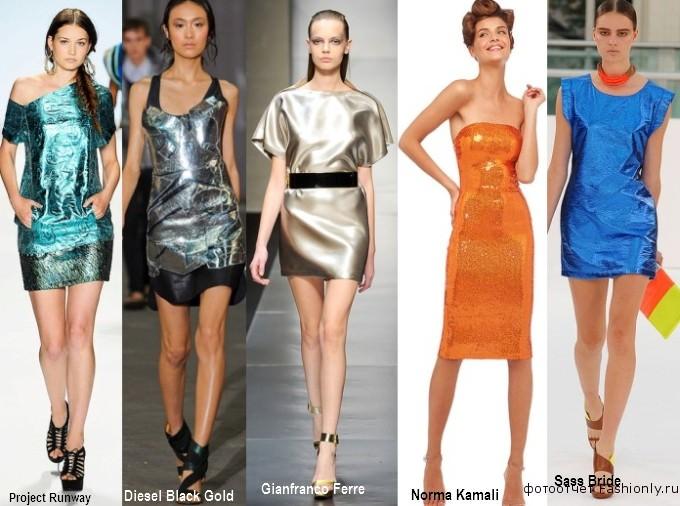 Платья для лета из металлищированной ткани 2012
