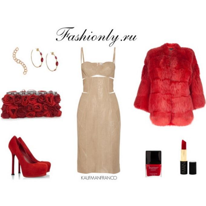 Бежевое платье с чем носить? (4)