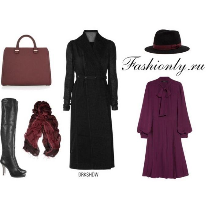 Черное пальто с чем носить (2)