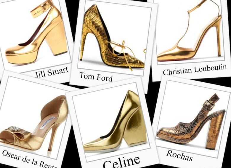 Модные туфли золотого цвета осень 2012