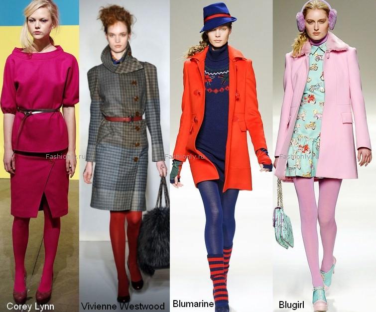 Цветные колготки в моде осенью 2012
