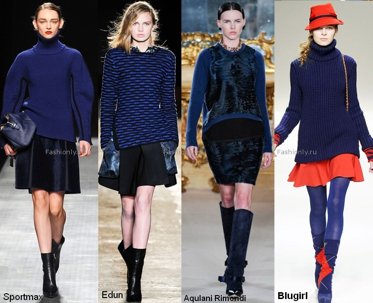 Свитер синего цвета - модная вещь 2012 года