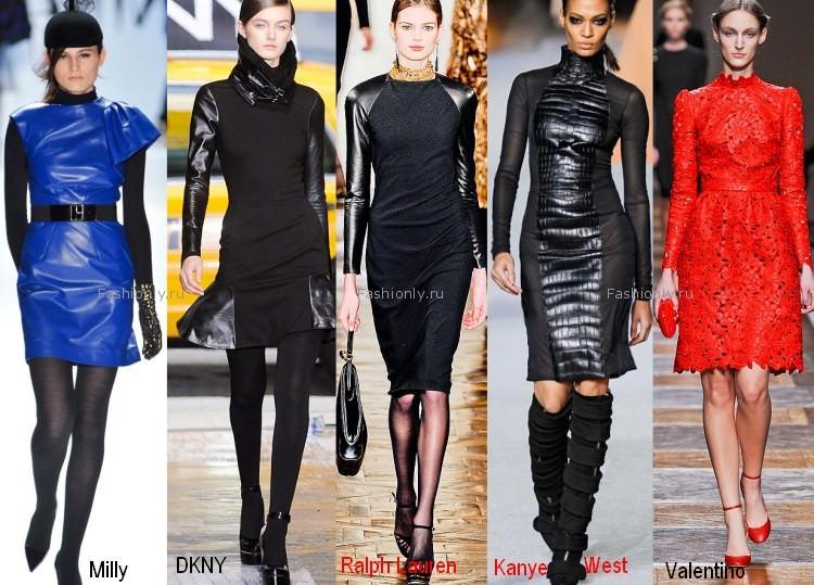 Зимние платья с кожаными вставками