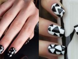 женские ногти в черно белом исполнение