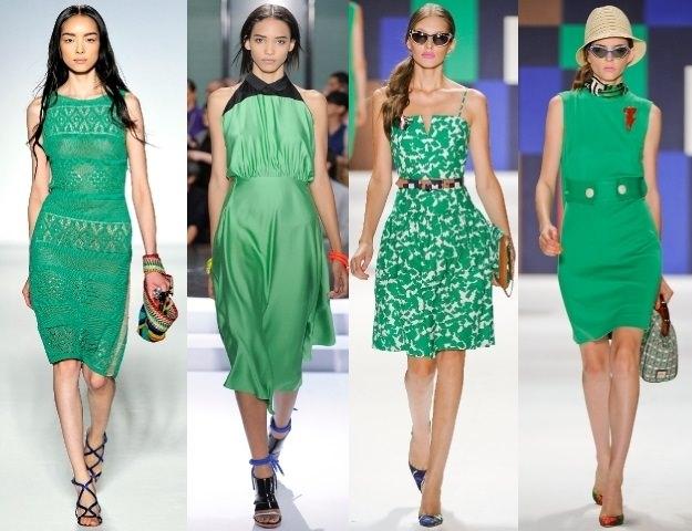 модели в зеленых платьях