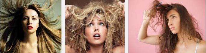 сухие волосы на женской голове