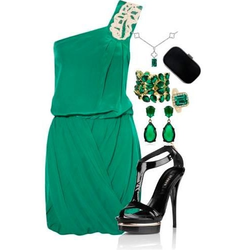 украшение к зеленому платью